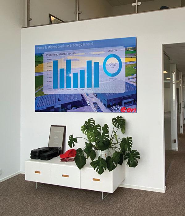 Storbildsskärm monterad på vägg inomhus